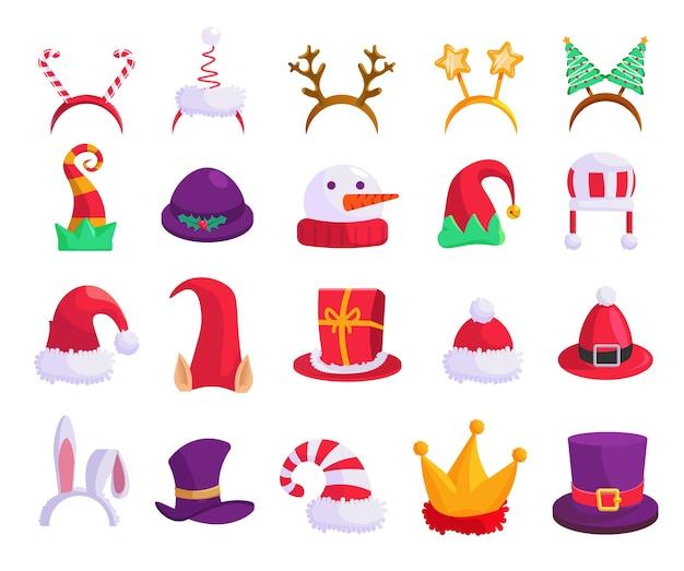 クリスマス帽子。カーニバルキャップ、お祝いマスク分離アイコンセットのイラスト。 Premiumベクター