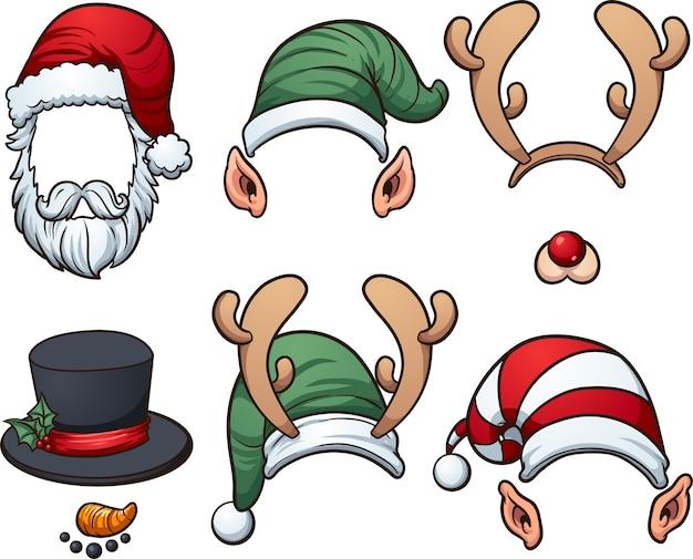 Christmas hats Premium Vector