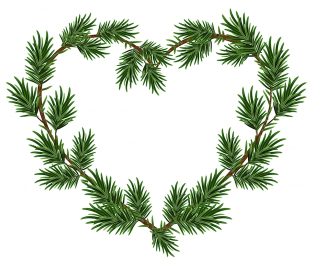 Christmas heart frame spruce branches. template for christmas card Premium Vector