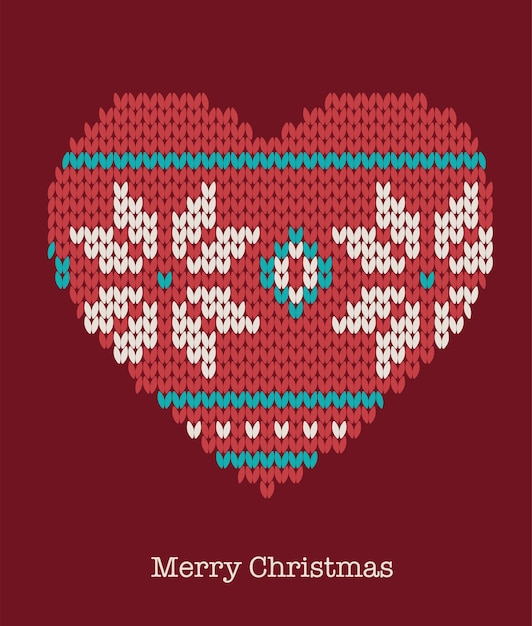 Christmas heart ornaments - knitted sweater, greeting card Premium Vector