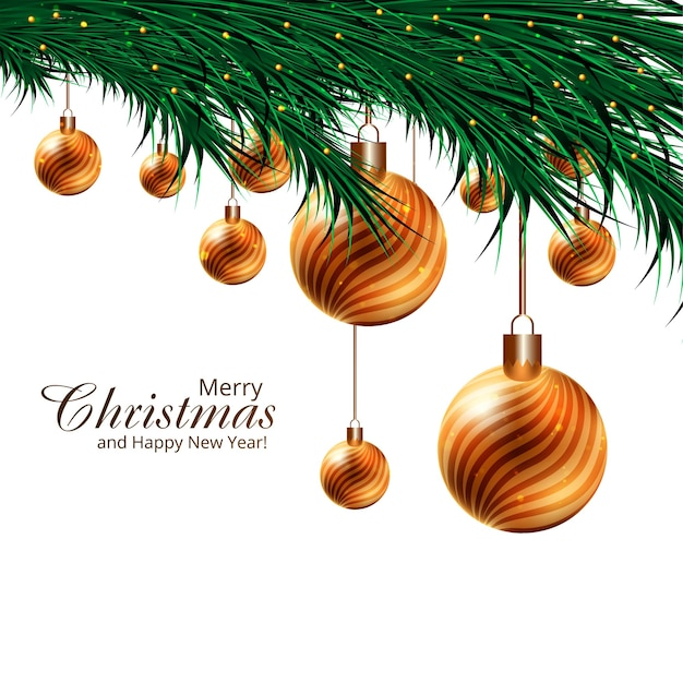 Christmas holiday background for realistic 3d balls on fir-tree branches design Free Vector