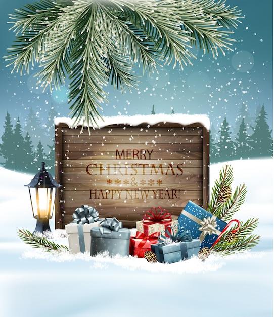 カラフルなプレゼントと木の看板とクリスマス休暇の背景 Premiumベクター