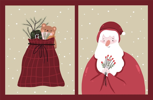 Christmas holiday celebration  collection set christmas cards Premium Vector