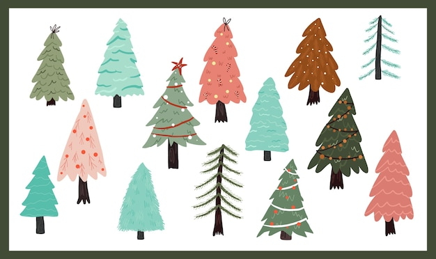 Christmas holiday celebration design collection set sticker christmas tree Premium Vector