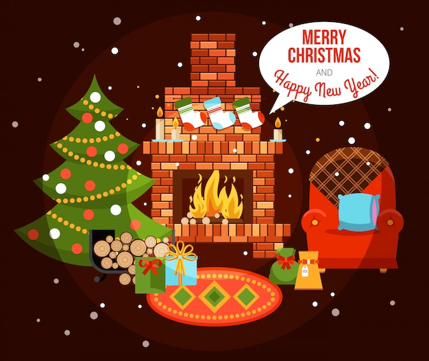 Christmas holiday fireplace illustration Free Vector