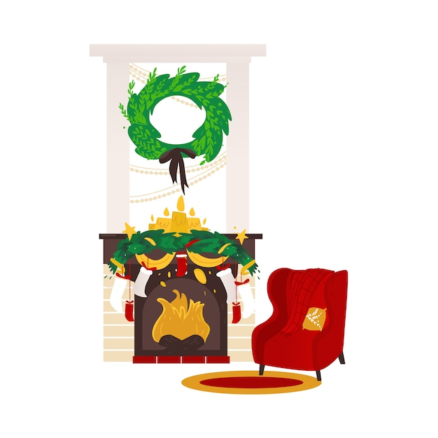 Christmas holiday home scene Premium Vector