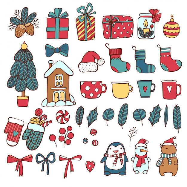 Christmas holiday icon set Premium Vector