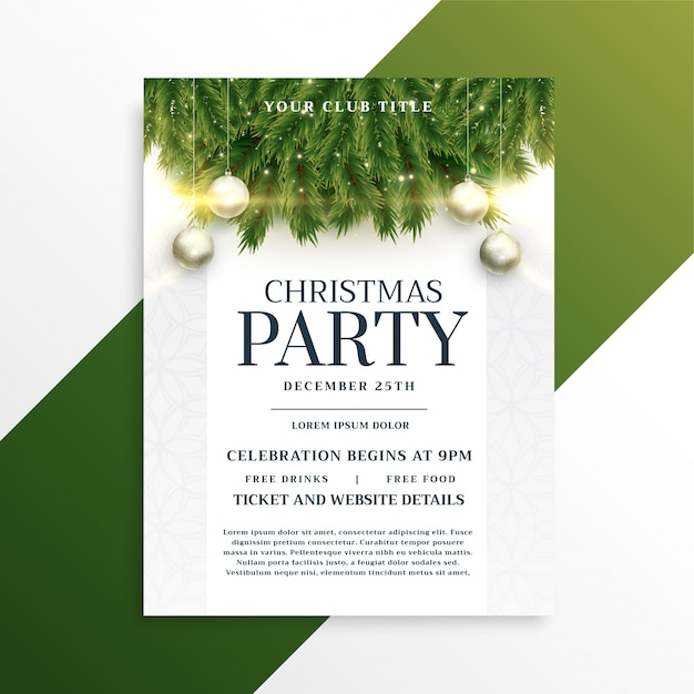 Christmas holiday party flyer design template Free Vector