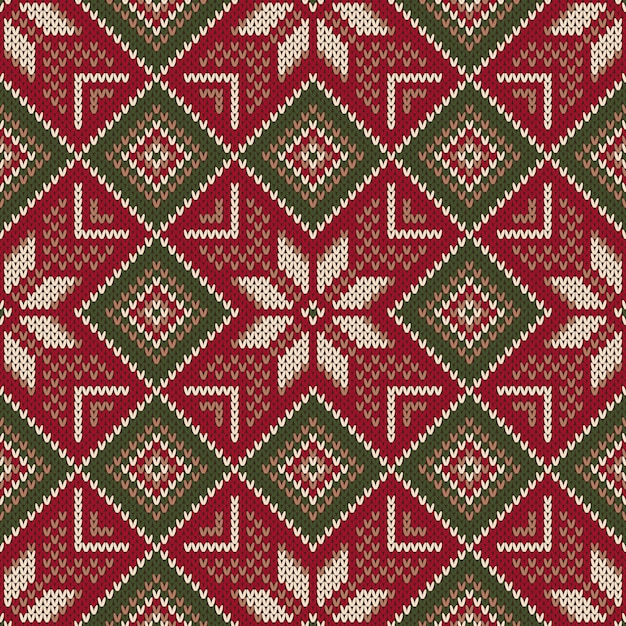 Christmas holiday seamless knitted pattern. scheme for knitting sweater pattern design and cross stitch embroidery. wool knit texture imitation. Premium Vector