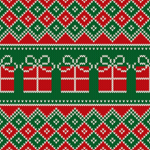 Christmas holiday seamless knitted pattern with present box. scheme for knitted wool sweater pattern design or cross stitch embroidery. Premium Vector