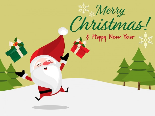 christmas holiday season background with merry christmas text premium vector