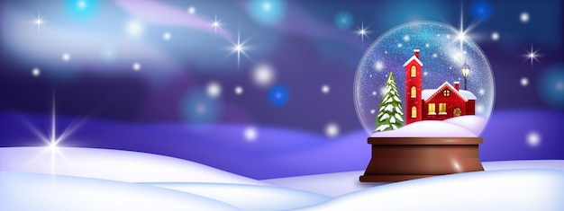 Christmas holiday snow ball illustration with red village house, drifts, pine tree, shiny stars Premium Vector