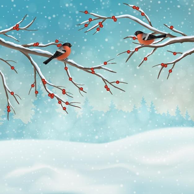 Рождественский праздник зимний пейзаж с ветвями деревьев и птицами Premium векторы