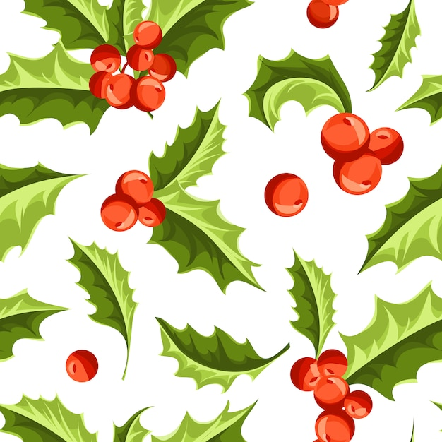 Christmas holly berry seamless pattern. Free Vector