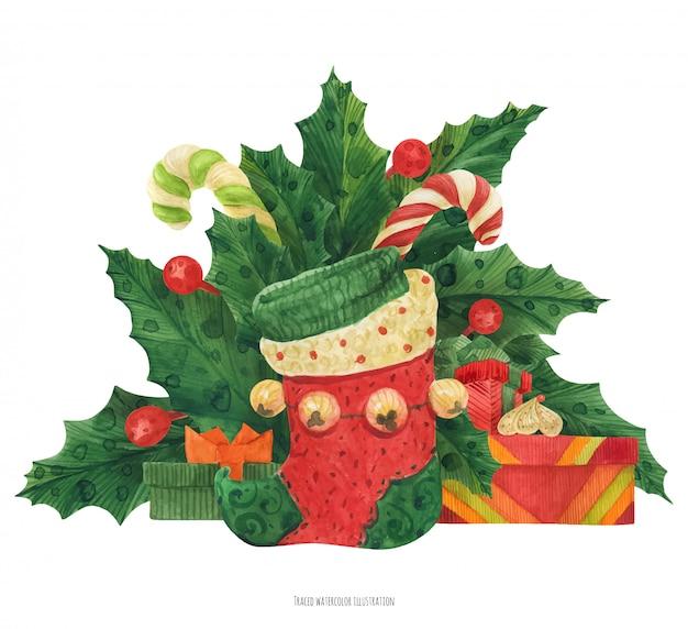 Рождественский букет падуба с чулком для эльфов, подарками и леденцами Premium векторы