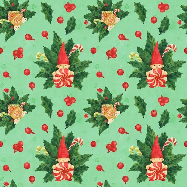 Рождественский холли зеленый узор с гномом и пряничным домиком и леденцами, прорисованными акварелью Premium векторы