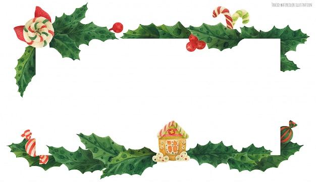 Рождественская шапочка с пряничным домиком и конфетами Premium векторы