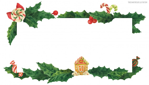 Christmas holly header with gingerbread house and candies Premium Vector