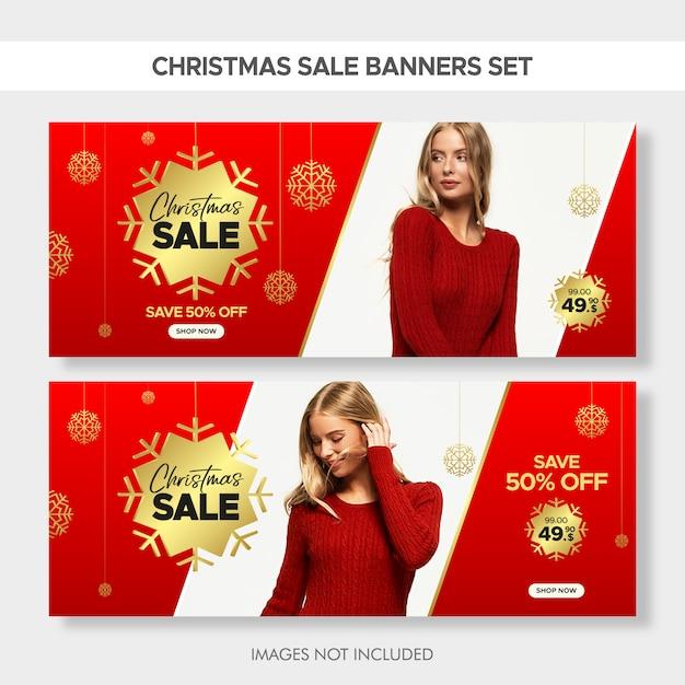 Christmas horizontal fashion sale banners set for web Premium Vector