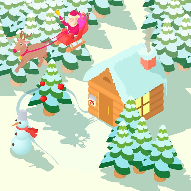 Christmas house concept Premium Vector