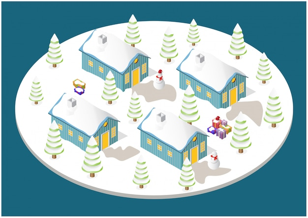 Christmas house, tree, snowman, and gift boxes Premium Vector