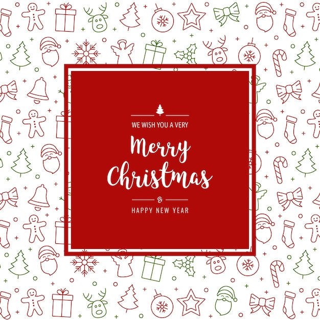 Christmas Icon Elements Card Greeting Text Border Frame