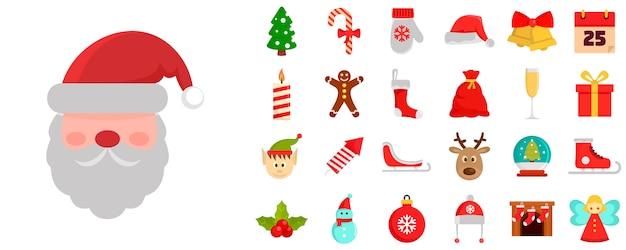 Christmas icon set Premium Vector