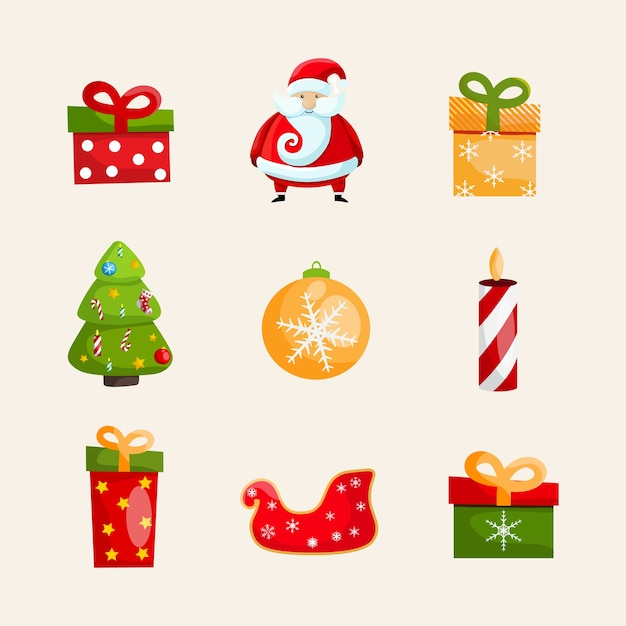 Christmas icons collection with santa claus, swan toy, gift boxes, candle, christmas tree and bauble Free Vector
