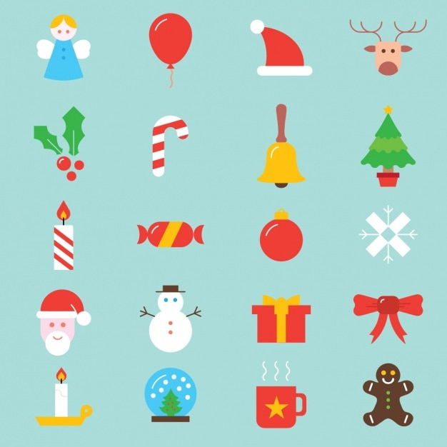 Christmas icons collection Free Vector