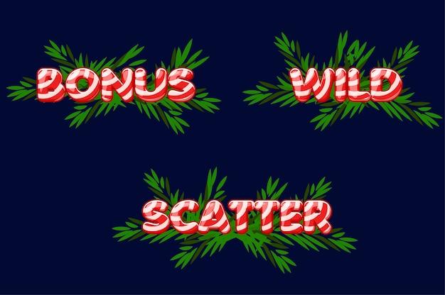 Рождественские иконки для слотов. бонус, разброс и дикий текст. установить новогодние иконки на отдельный слой. Premium векторы