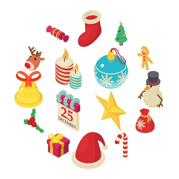 Christmas icons set, isometric style Premium Vector