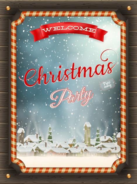 つまらないと冬の村のクリスマスイラストフレーム。 Premiumベクター