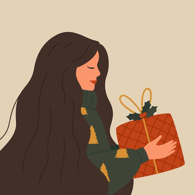 Christmas illustration of a happy woman wearing a warm sweater holds a red gift box Premium Vector