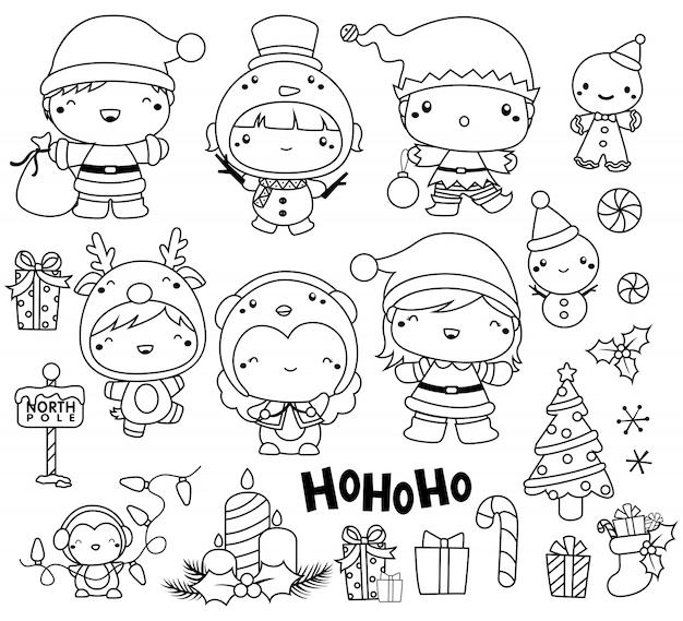 Christmas image set outline Premium Vector