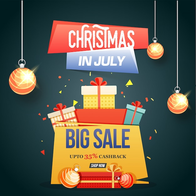 Christmas in July Big Sale poster banner or flyer design Vector