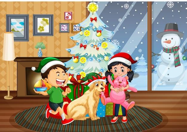 Рождественский интерьер с большим количеством детей и милыми собаками Premium векторы