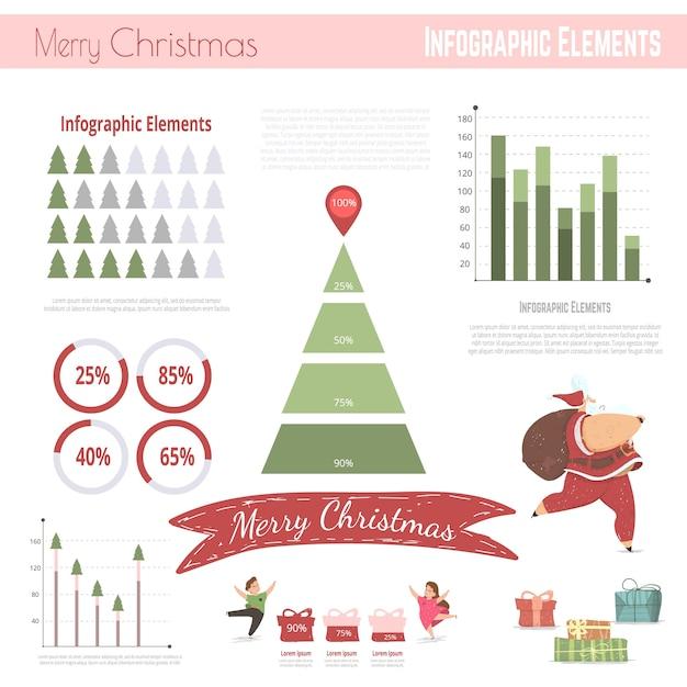 Christmas infographic elements Premium Vector