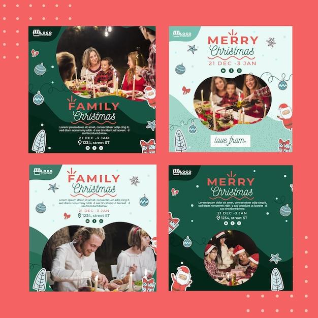Рождественская коллекция постов instagram Бесплатные векторы