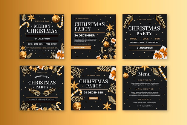 Рождественские посты в instagram Бесплатные векторы