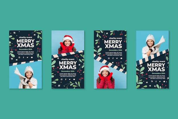 Коллекция рождественских историй instagram Бесплатные векторы