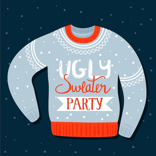 Premium Vector Christmas Invitation Template On Ugly Sweater Party