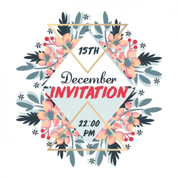 Christmas invitation with floral elements vector free download christmas invitation with floral elements free vector stopboris Choice Image