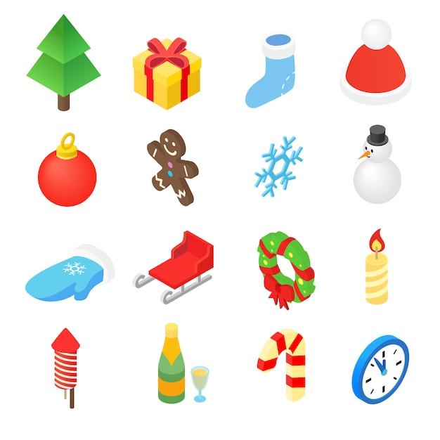 Christmas isometric 3d color icons set Premium Vector
