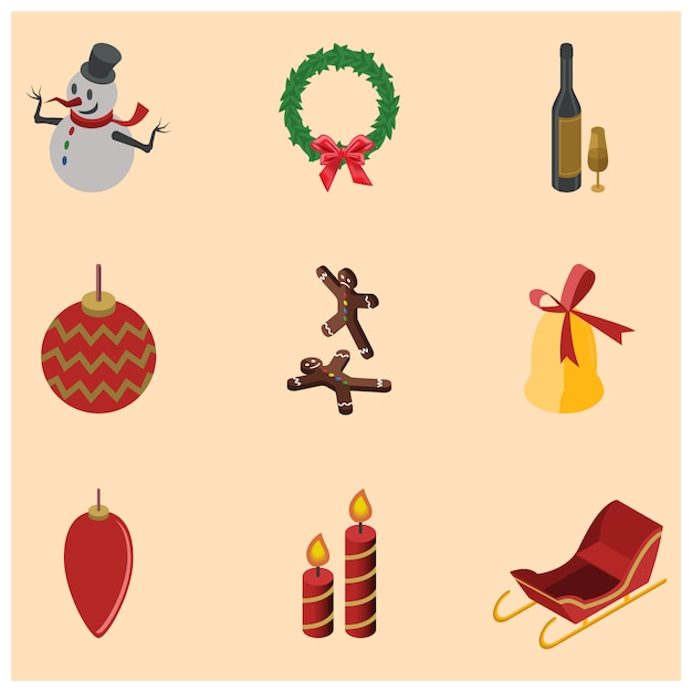 Christmas isometric icon Premium Vector