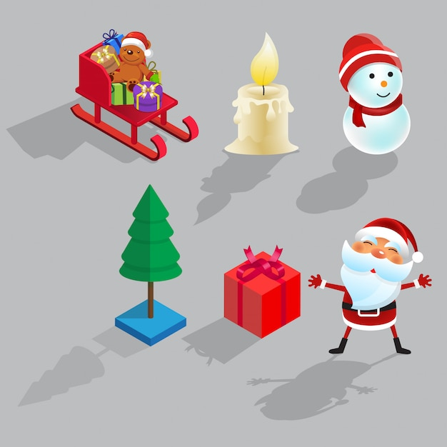 Christmas isometric set flat cartoon design vector illustration Premium Vector