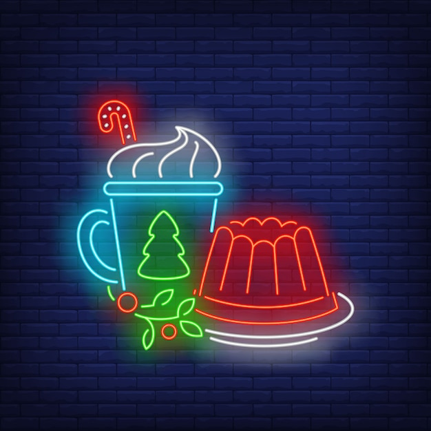 Christmas jelly and drink neon sign Free Vector