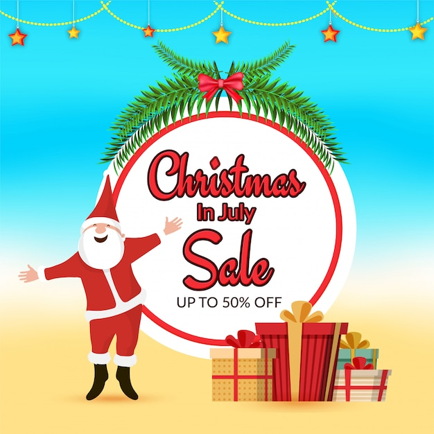 Christmas In July Free Graphics.Christmas In July Sale Banner Design With Santa Claus