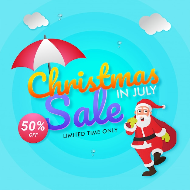 Christmas In July Clipart Free.Christmas In July Sale Flyer With Santa Claus Vector
