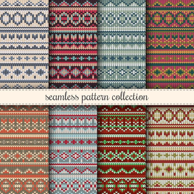 Free Christmas Knitting Patterns Jumpers : Christmas jumper seamless patterns collection knitted