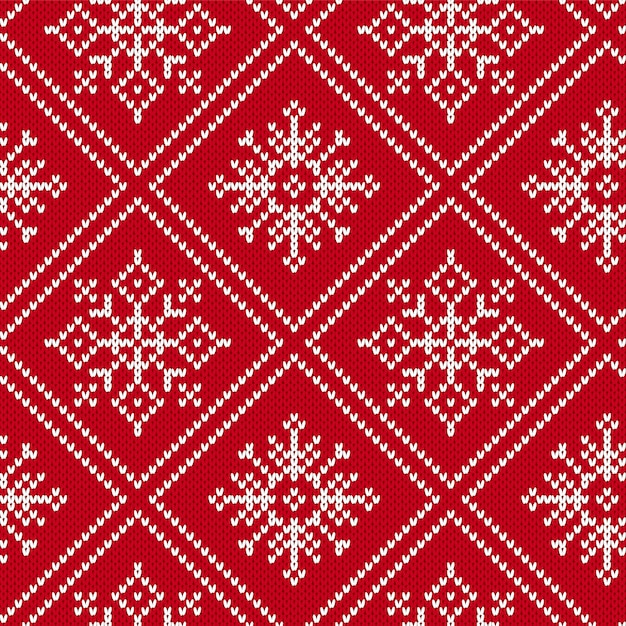 Christmas knit geometric ornament. knitted textured seamless background. illustration Premium Vector